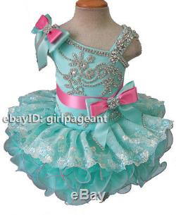 Infant/toddler/baby Mint/pink Rhinestones Lace Bows Pageant Dress 4T G218-2