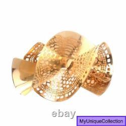 Italian 14K Yellow Gold Twisted Bow Fan Pin Brooch 5.3 Grams