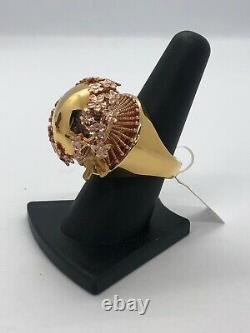 Italian Handmade 14KT YellowithRose Gold Flower Bow Ribbon Ring