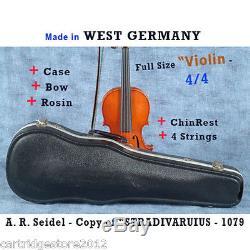 Italian Handmade 1979 copy STRADIVARIUS A. R. Seidel Violin 4/4 -WithCase/Bow