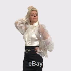 Ivory Pussy-Bow Ruched Satin& Embroidered Organza Blouse Formal