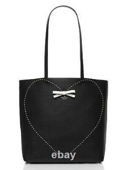 Kate Spade New York Handmade On Purpose Bow Heart Black Leather Tote