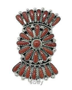 Kyle Wilson, Ring, Mediterranean Coral, Bow Tie, Cluster, Navajo Handmade, 8
