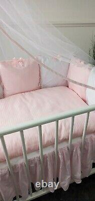 LUXURY BABY GIRL QUILTED PINK WHITE BEDDING SET BOW CANOPY COT 60x120cm