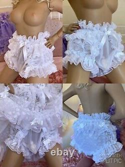 LUXURY NYLON CHIFFON & LACE 2 TIER SISSY MAID BABY DOLL DRESS & PANTIES SET of 2