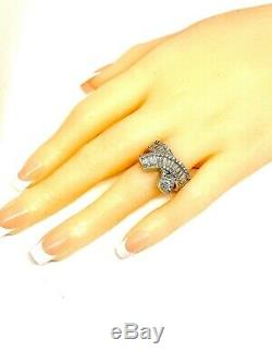 Large Baguette Cubic Zirconia Bow-style Silver Ring