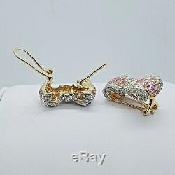 Large Bow 14K YG, Diamond & Pink Tourmaline Earring With Omega Safety Backs