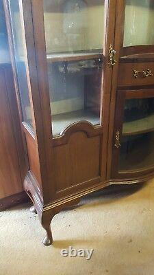Large Edwardian Bow Fronted Display Cabinet