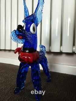 Large Vintage Murano Venetian Blue UV Glass Scottie Dog Red Bow Stunning rare