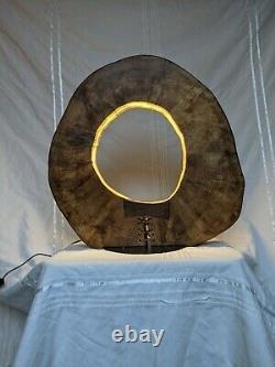 Large circular wooden table lamp with bow detailing