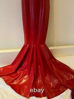 Limited Edition designer red latex rubber fishtail dress 8 10