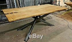 Live Edge Dining Table Industrial Style Waney Edge Table With Bow Tie Joints