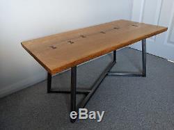 Live Waney Edge Solid Oak Coffee Table with Bow Ties & Geometric Steel Base Legs