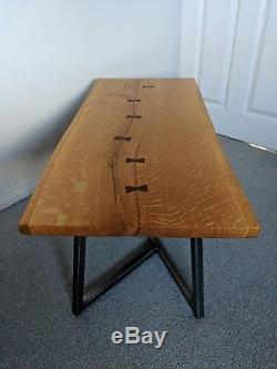 Live Waney Edge Solid Oak Coffee Table with Bow Ties & Geometric Steel Base Legs