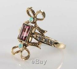 Long 9k 9ct Gold Pink Tourmaline Opal Diamond Art Deco Ins Bow Ring Free Resize