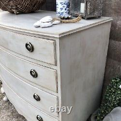Lovely Country Chic Style Grey Hand Painted Vintage Bow Fronted Chest of Drawers