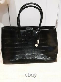 Luxury, Aspinal of London tote bag large/ leather/ deep Shine Black Soft Croc