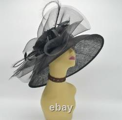 M826(Black)Kentucky Derby Church Wedding Royal Ascot Sinamay Wide Brim hat