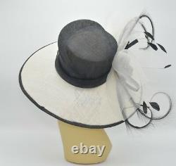 M826(Ivory/Black)Kentucky Derby Church Wedding Royal Ascot Sinamay Wide Brim hat