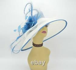 M826(Ivory/Blue)Kentucky Derby Church Wedding Royal Ascot Sinamay Wide Brim hat