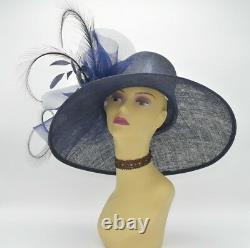 M826(Navy Blue)Kentucky Derby Church Wedding Royal Ascot Sinamay Wide Brim hat