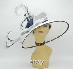 M826(White/Navy)Kentucky Derby Church Wedding Royal Ascot Sinamay Wide Brim hat