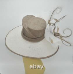 M826(White/Taupe)Kentucky Derby Church Wedding Royal Ascot Sinamay Wide Brim hat