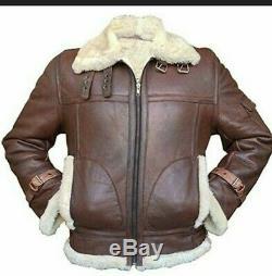 Men RAF Aviator FUR Shearling Brown Hand Made Lamb Skin Genuine Leather Jacket