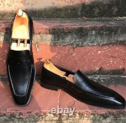 Men black leather Formal Shoes, Men black leather moccasins slip ons, Men Shoes