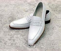 Men's White Formal Square Toe Moccasin Dress Shoes, Real Leather Office Shoes