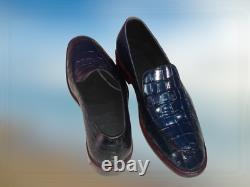 Mens Blue Crocodile Dress Shoes, Men Blue Alligators Patterned Shoes