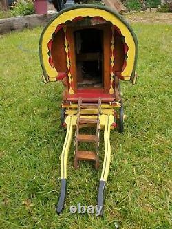 Model Miniature Handmade Wooden Painted Gypsy Bow Top Wagon Vardo Caravan 15in