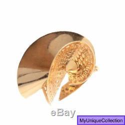 Modern Italian 14K Yellow Gold Twisted Bow Fan Pin Brooch 5.3 Grams