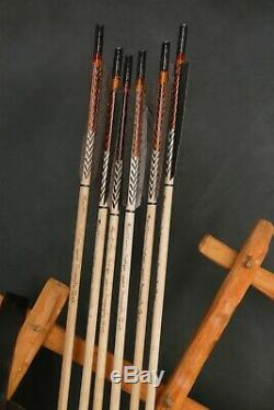 Mongolian Handmade Bow with Sinew and Horn + Leather Quiver, 5 Blunt Arrows