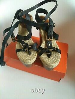 Mulberry Shoes size 4.5 Gorgeous Nude & Tone Heels wedges Gucci Italy