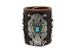 Myron Etsitty, Bow Guard, Kingman Turquoise, Silver, Navajo Handmade