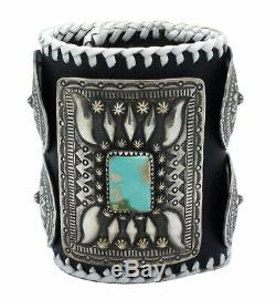 Myron Etsitty, Bow Guard, Pilot Mountain Turquoise, Silver, Navajo Handmade