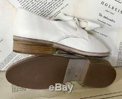 NEW Kupuri Hand Made ivory tan Leather Fixed Bow Oxford Flat Shoes 37/6.5