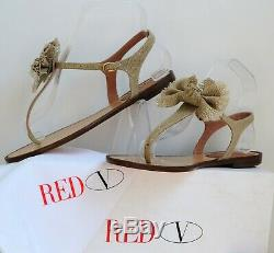 NIB RED VALENTINO Shoes Handmade Bow Italy Flax 38.5 Canvas Flats T-strap Beige