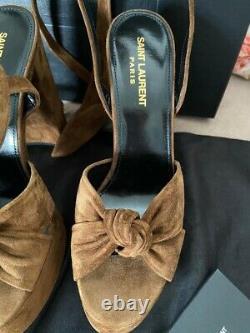 NIB Saint Laurent Bianca Suede Land Cachemire Platform Sandals 38 $895