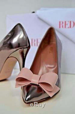 NIB Valentino Red Leather Bow Handmade Italy Heels 37 IT Shoes Silver Pink Party