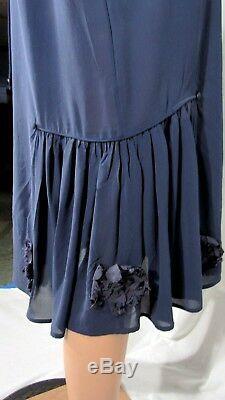 NWOT 1920s Flapper Dress Navy Blue Georgette Custom Made Ribbon Medallions L/XL
