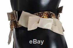 NWT DOLCE & GABBANA Belt Beige Black Waist Crystal Hand Made IT42/ US8 / M
