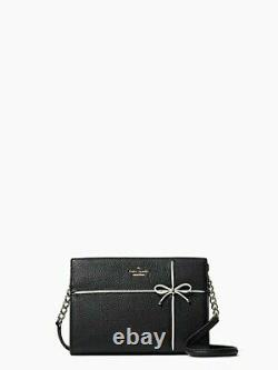NWT Kate Spade Cherry Street Danna Crossbody Clutch wkru4762 Black Leather Bow