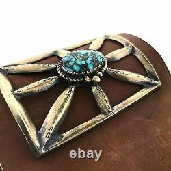 Native American Sterling Silver Morenci Turquoise Sandcast Leather Bow Guard