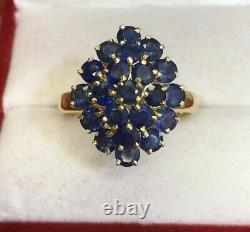 Natural Blue Sapphire 14k Solid Yellow Gold Flower Ring 4.6 Grams size 7.5