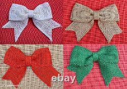 Natural Hessian Burlap Jute Handmade Bows Shabby Chic Rustic Vintage Wedding Tag