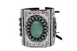 Navajo Handmade, Bow Guard, Ketoh, Green Kingman Turquoise, Sterling Silver