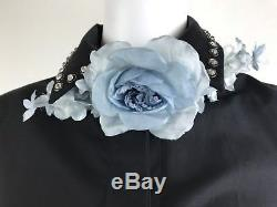 New 100% Authentic GUCCI Handmade Floral Neck Bow in Sky Blue. Made in Italy