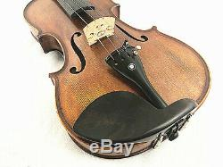 New 4/4 Hand-Made Antique Flamed Back Violin+Bow+Rosin+Case+String #AQE02